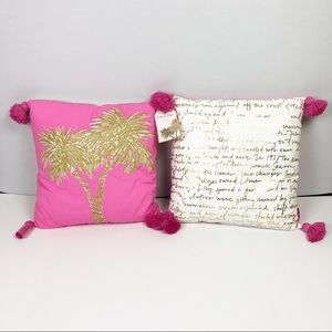 "2 Lilly Pulitzer Palm Tree Pillows 18""x18"" Square"